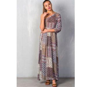Checker Floral Maxi Dress